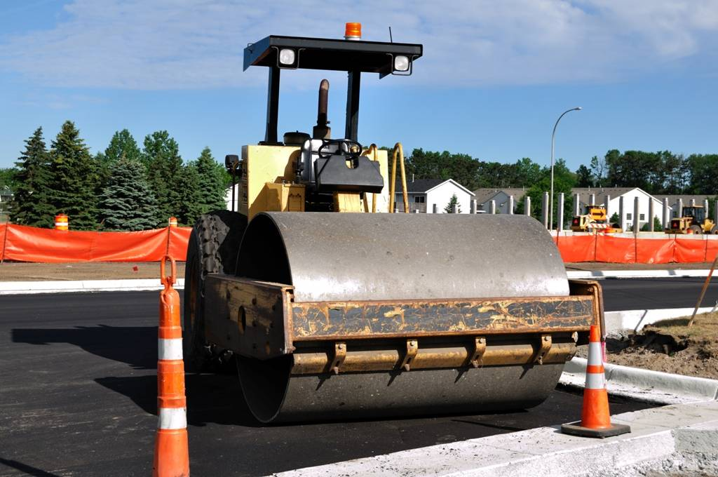 Steamroller at Road Construction Site, Copy Space