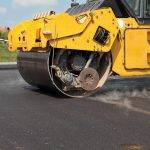 Road roller  at a road construction site