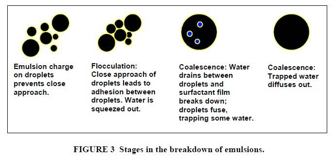 Stages in the breakdown of emulsions